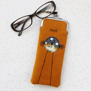 Bird Design Fabric Glasses Case With Clasp
