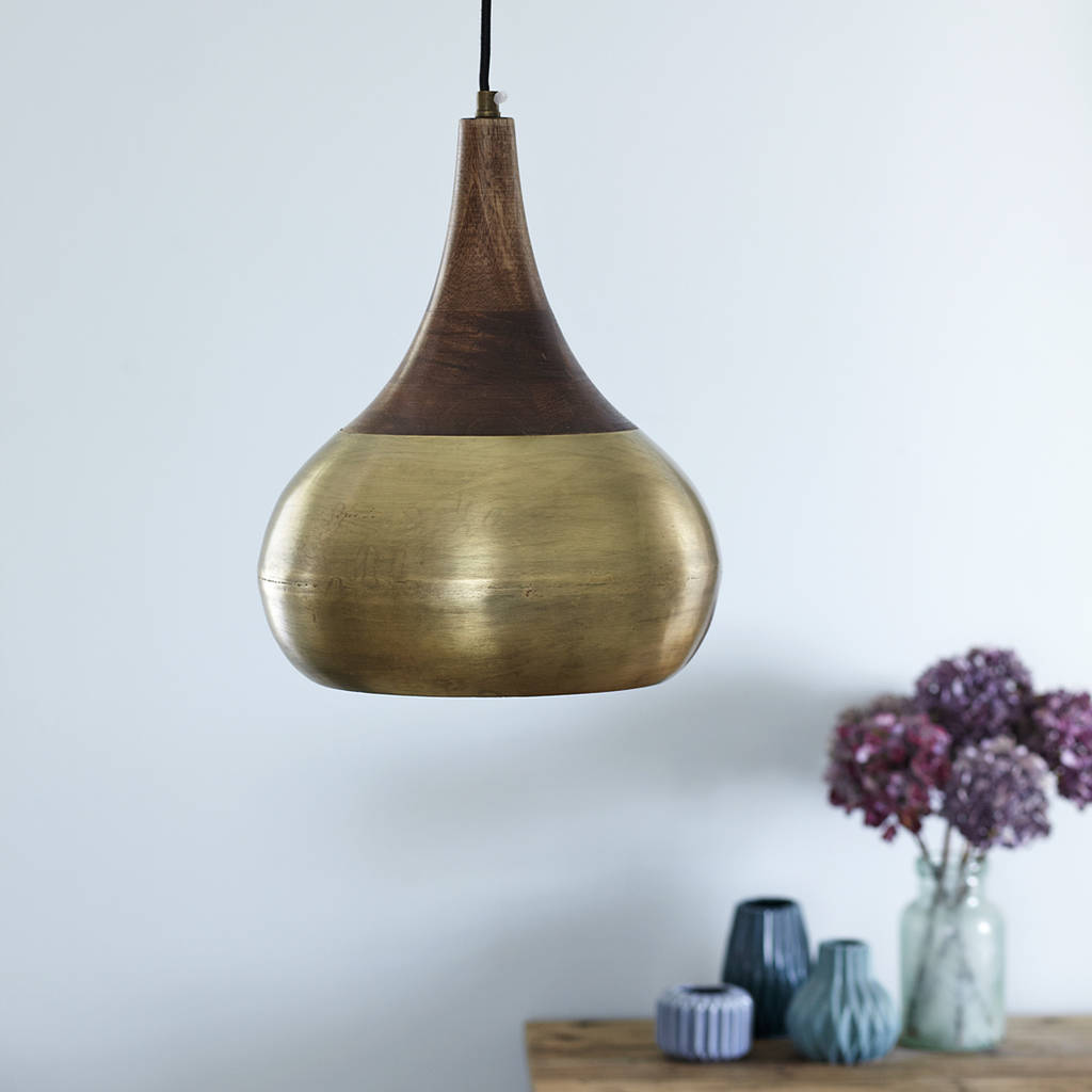 Wooden topped brass kasbar ceiling light by primrose for Ceiling lamp wood