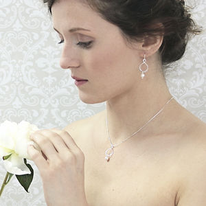 Aida Pearl Pendant And Earring Set - wedding jewellery