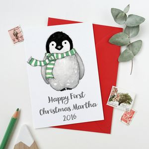 Baby Penguin Personalised First Christmas Card - gifts for babies & children