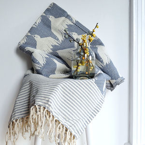House Of Rym Bird Pattern Woven Cotton Throw - blankets & throws