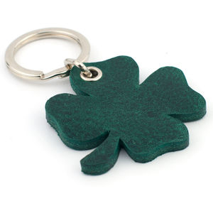 Four Leaf Clover Leather Key Ring
