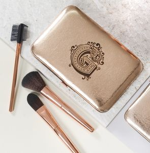 Personalised Make Up Brush Set With Decorative Initial - beauty accessories