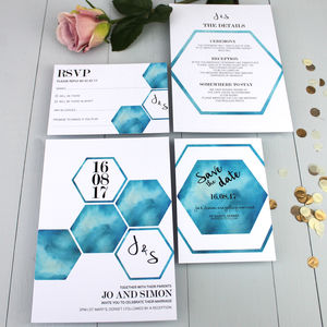 Geometric Watercolour Wedding Invitation - wedding stationery