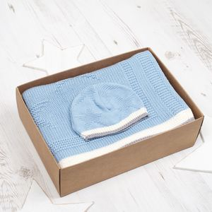 Baby Boy Star Blanket And Hat Gift Set - more