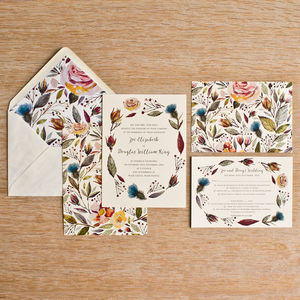 Wild Flower Invitation - adults party invitations