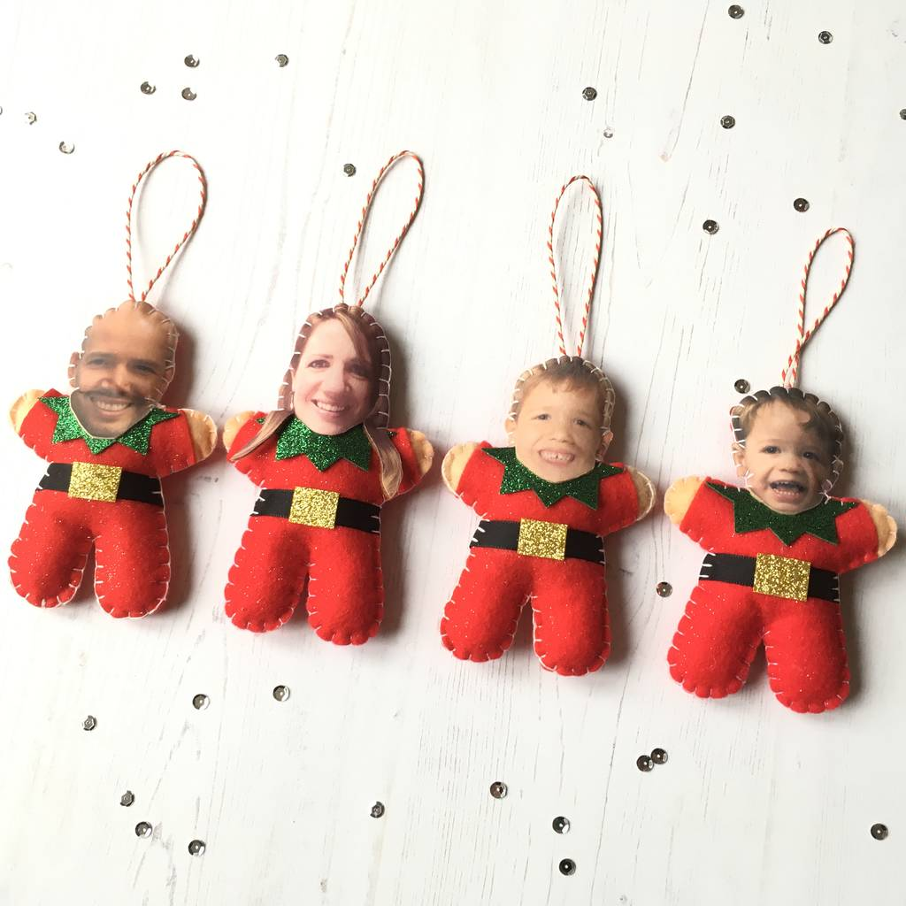 personalised elf christmas tree decoration