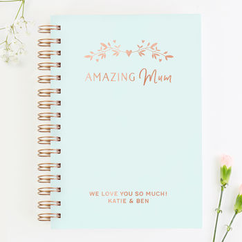 Mother's Day Gift Mint Personalised Notebook