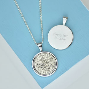 Sixpence 50th 1966 Birthday Coin Necklace - 50th birthday gifts