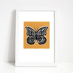 'Butterfly' Print In Saffron Yellow - posters & prints
