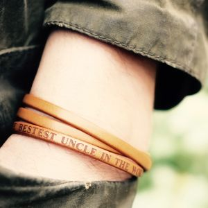 Personalised Message Leather Wrap Harrison Bracelet - for him