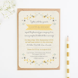 Floral Gingham Evening Invitation - invitations