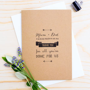'Mum + Dad Thank You For All You've Done For Us' Card - wedding cards