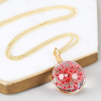 Long Pressed Flower And Glass Ball Pendant Necklace