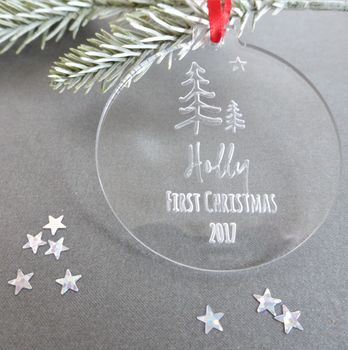 Personalised First Christmas Winter Woodland Bauble