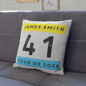 Personalised Tour De Sofa Cushion - gifts for cyclists