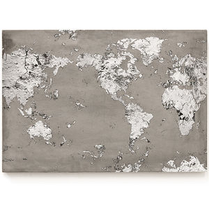 Concrete Print World Map - maps & locations
