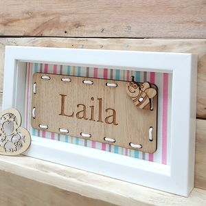 Personalised Girl's Name Oak Artwork - wall hangings for children