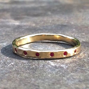 Hexa Ring 9ct Yellow Eco Gold Ruby - precious gemstones
