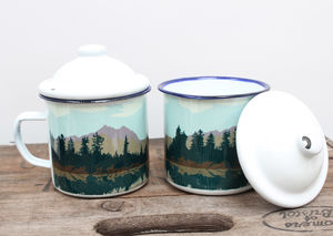 Enamel Mug With Lake And Forest Design - camping