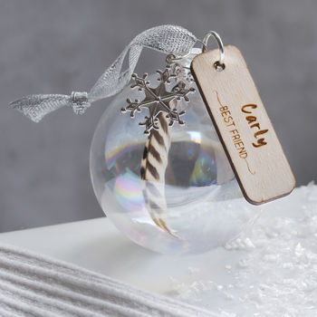 Personalised Name Feather Bauble