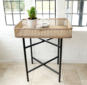 Bamboo And Metal Side Table