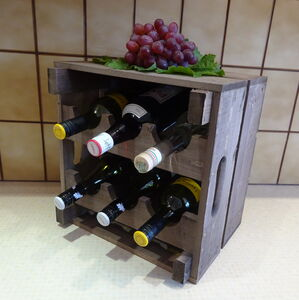 Wooden Wine Rack Crate Small
