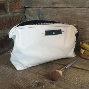 White Leather Personalised Toiletry Bag