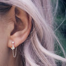 Eliza Sterling Silver Opal And Chain Earrings