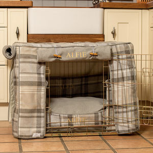 Tweed Dog Crate Cover, Crate Cushion And Crate - dog beds & houses