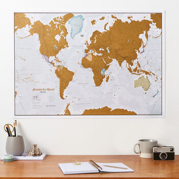 Scratch The World® Map Print With Coin
