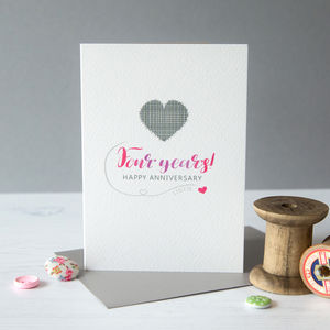 Fourth Wedding Anniversary Card Linen