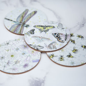 Coaster Set Of Bees And Butterflies