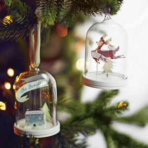 Snowy House Christmas Ornament Papercut Cloche - christmas decorations