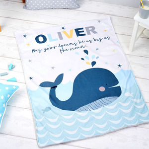 Children's Personalised Whale Luxury Blanket