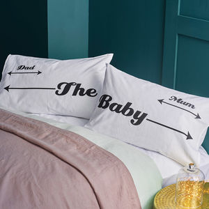 New Baby Family Pillowcase Set Gift For New Parents - first father's day