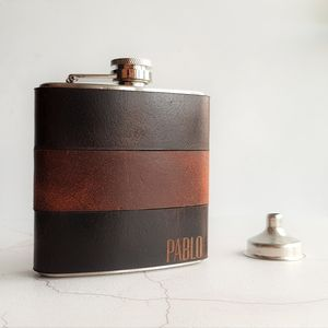 Customised Mixed Leather Hip Flask