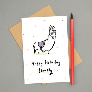 'Happy Birthday Llovely' Llama Card