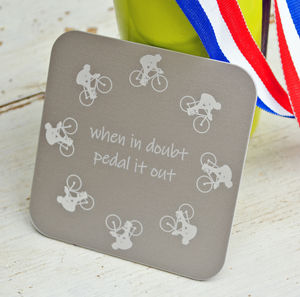 Personalised Etched Cyclist Coaster