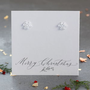 Silver Snowflake Stud Earrings - jewellery sale