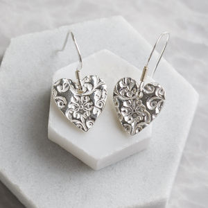 Silver Floral Heart Drop Earrings