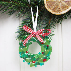 Handmade Glass Wreath Christmas Tree Decoration
