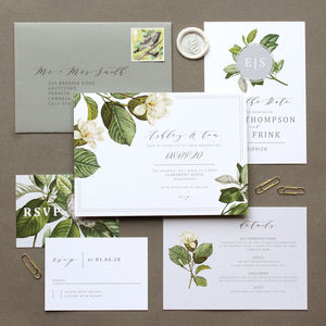 White Blossom Modern Wedding Invite