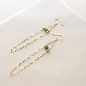 Gold Chain Earrings With Green Onyx - earrings