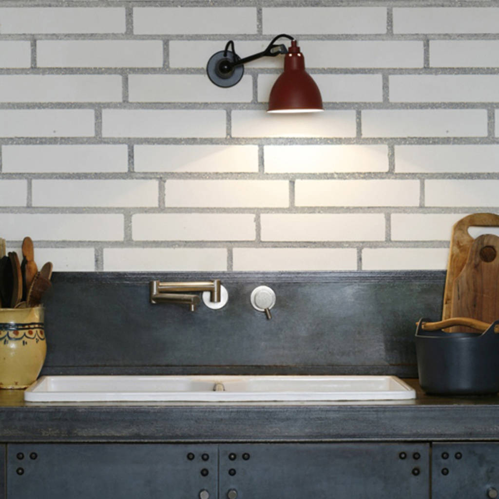 Stylish White Bricks Kitchen Wallpaper