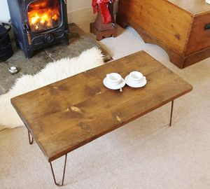 Reclaimed Scaffold Board Hairpin Leg Coffee Table - coffee tables