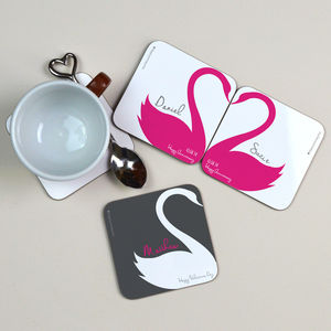 Personalised Swan Heart Coasters Pair - table decorations