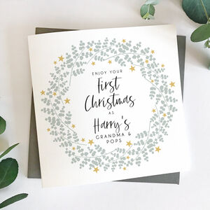First Christmas As Grandparents Eucalyptus Card