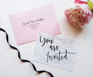 Write Yourself Modern Marble Wedding Invitation