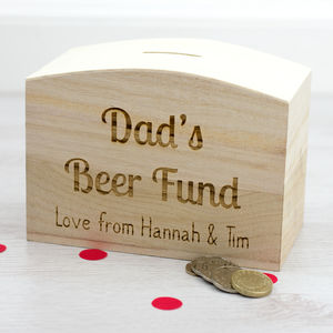 Personalised Dads Beer Fund Money Box